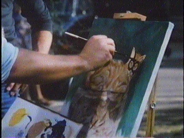 They ruined his painting.  Those monsters!